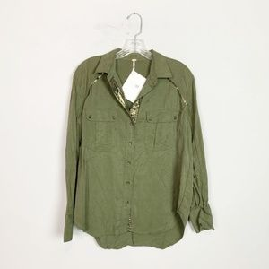 Free People | army green button down top size S